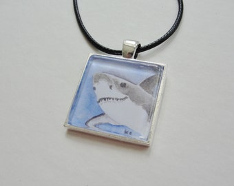 Shark Necklace, Shark Jewelry SALE, Shark Pendant and Chain, Great White Shark, Shark Art, Blue and Gray, Shark Week, Beach Necklace Jewelry