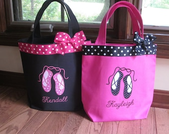TOTE BAG Dance Tote Ballet Slippers WITH Ribbon Trim and Bow
