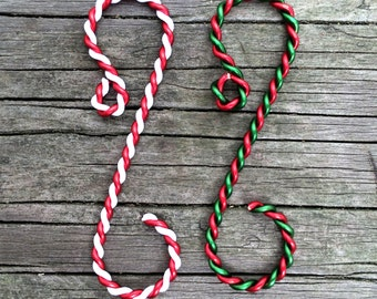 """Twisted (2"""") Ornament Hooks choice of Red-White or Red-Green, Set of 12"""