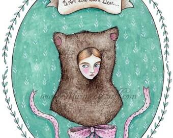 """Bear girl art print, """"When She Was a Bear"""""""
