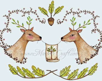 "Deer acorn art print, ""Fabled Deer"""