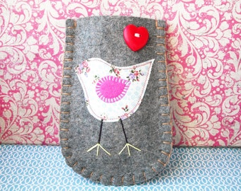 Felt Phone Sleeve - White Floral Tweety Bird - free P & P (within the UK)