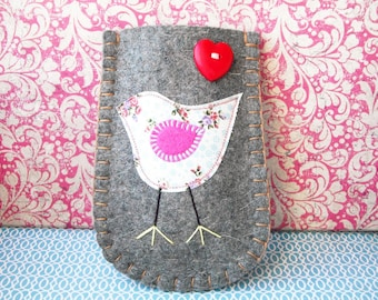 Felt Phone Sleeve - White Floral Tweety Bird - free P & P (within the UK)