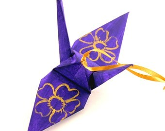 Large Gold Cherry Blossoms on Grape Purple Origami Crane Ornament Home Decor
