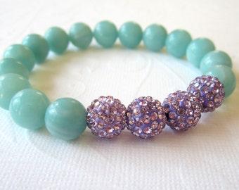 Amazonite Bracelet  with Lavender Crystal Pave Beads   Summer Wedding