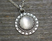 Moonstone Necklace - Small Moonstone Pendant and Chain - Sterling Silver