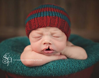 Silas - Perfect Fit Newborn Beanie red teal striped baby hat photography prop