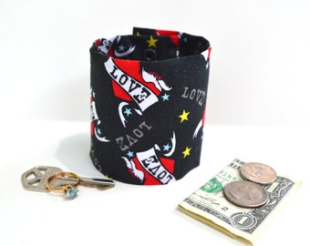 Secret Stash Wrist  Money Cuff-  Tough Love -  Hide your cash, jewels, key,health info  in a hidden zipper