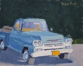 Chevy Apache in Blue - A Study - 8 x 10 Inch Original Oil Painting of a Classic Car - Classic Car Painting