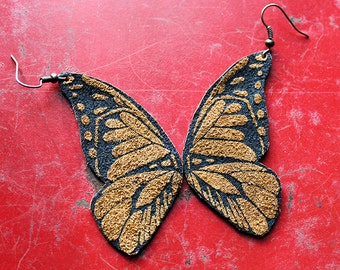 Screen Printed Leather Earrings-Butterfly Wings