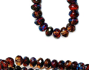 Autumn Leaves- premium faceted Picasso Czech glass beads