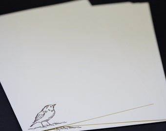 Little Brown Bird, hand stamped stationery set, tetter writing set, hand written letters, 30 pieces, lined or unlined, social stationery
