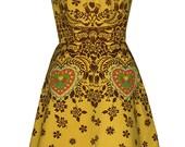 wycinanki dress - yellow & brown - polish paper cutting folk art screen print