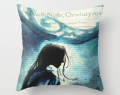 Shakespeare Throw Pillow - Indoor Cushion - Cover or Stuffed Pillow
