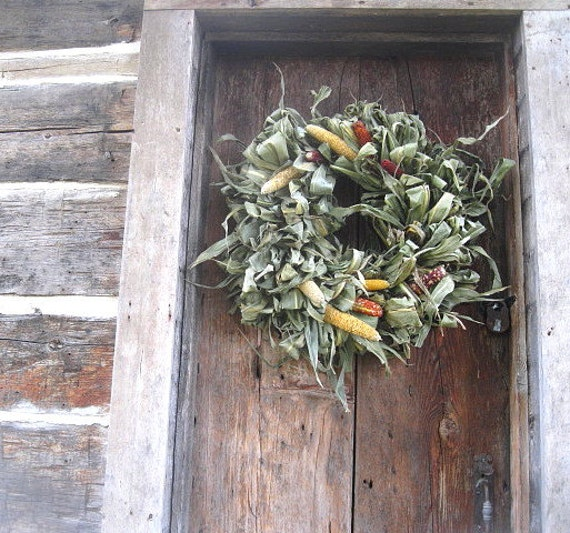 Corn Stalk Decoration Ideas: CORN STALK WREATH All Natural Decoration For Door Or Wall