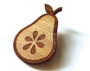Fresh Pear Pin. Pear Pin. Pear Brooch. Wood Brooch. Wood Pin. Bamboo Pin. Laser Cut Pin. Teacher Gift. Gifts for her. Fruit Pin. Mom Gift.