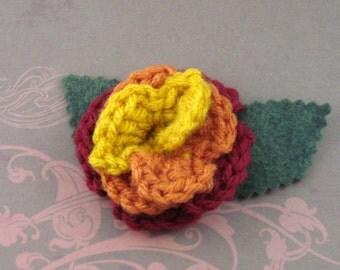 Crocheted Rose Bar Pin - Serenity (SWG-PS-SE02)