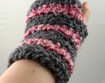 Gray and Pink Striped Crocheted Wrist Warmers (size S-M) (SWG-WW-SH02)