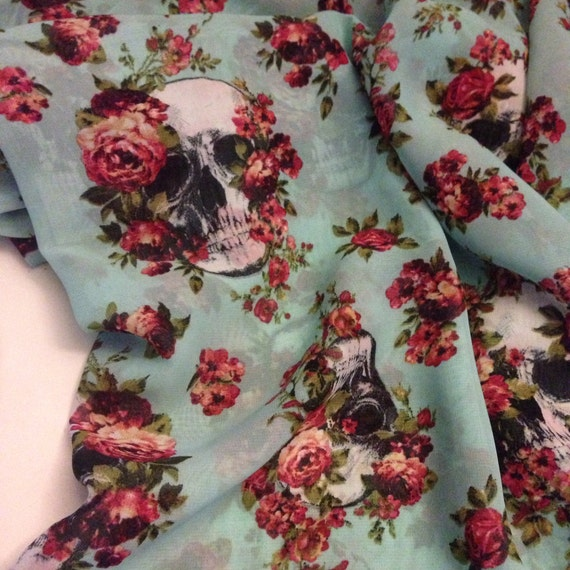 Floral skull print chiffon fabric 3 yards sale for Patterned material for sale