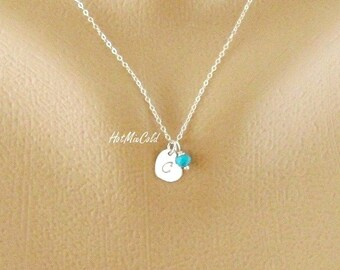 Initial Heart Necklace, Birthstone Necklace / Minimal Silver, Gold, Rose Gold Monogram Heart Jewelry / Initial Pendant Mothers Necklace