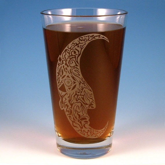 Tattooed Moon Pint Glass - Etched Glassware - Ready to Ship