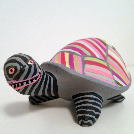 orignal found object painting / sculpture - Turtle