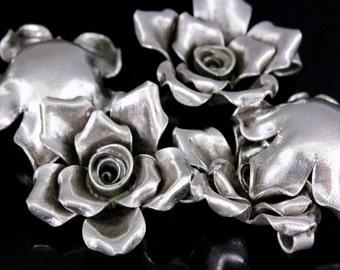 4KH-021 thai karen hill tribe silver 1 large wild rose charm