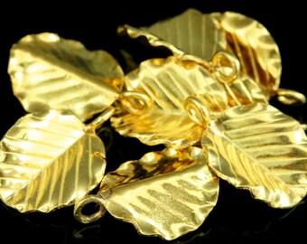 KG-317 Thai karen hill tribes handmade silver 2 gold vermeil leaf charm