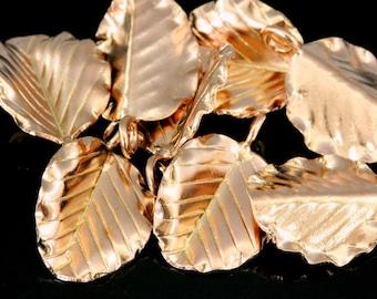 KZ-240 thai karen hill tribe handmade silver 3 rose gold vermeil leaf charm
