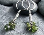 Green Vesuvianite Cluster on Silver Beaded Earrings