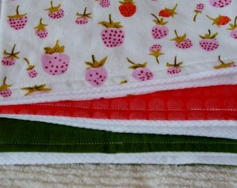 Strawberry burp cloth trio