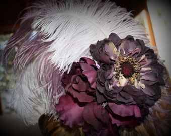 SALE 25% OFF!!! Luscious Silver and Purple Feather Fascinator