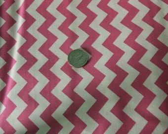 Marshall Dry Goods Fabric - One Yard - Bubblegum Pink and White Chevron