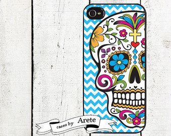 iphone 6 case Blue Chevron Sugar Skull iphone case - for iphone 4,4s & iPhone 5