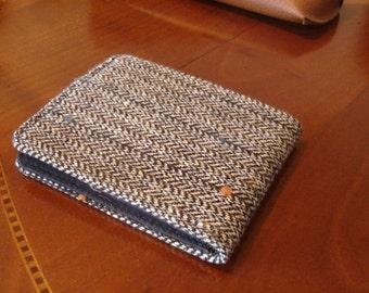 Mens minimalist Wallet Grey speckled Herringbone pinstripe 7 Pocket Billfold Standard bifold