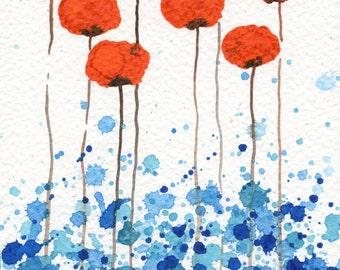 Watercolor Painting: Watercolor Flower Painting -- Art Print --  Just Around the Corner -- Orange Flowers -- 5x7