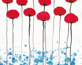 Watercolor Painting: Watercolor Flower Painting -- Original Painting --  Bright and Sunny Day -- Red Flowers -- 11x14