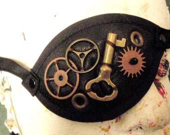 Solid  Black Leather Steampunk  Pirate Eye patch Costume Piece by Darkwear clothing co