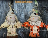 """Make-do Scarecrow on vintage spindle """"If I only had a brain"""""""