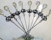 Black and White Lampwork Glass Beaded Stainless Steel Metal Appetizer Picks Set of 8