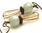 Vintage Moon Glow, Czech Glass and Vintage Patina Brass Earrings