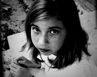 Fine Art Photography Black & White Portrait of a Young Girl Home Decor Traditional Archival Print