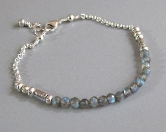 Faceted Labradorite Bracelet Handmade Silver Bead DJStrang Gemstone Boho Tiny Color Flashing