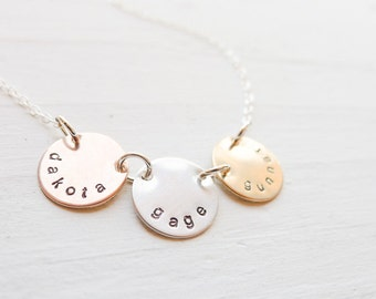 Mixed Metal Mom Necklace - Personalized Name Medallions Gold Silver Rose Gold Jewelry Mothers Necklace 3 Linked Circles