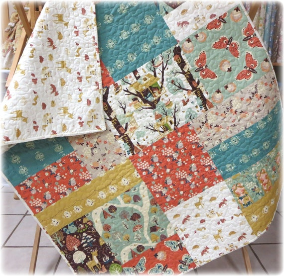 Organic Baby Quilt Fort Firefly Rustic Woodland Country Birch