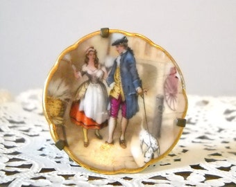 Vintage Limoges France Miniature Plate Brass Stand