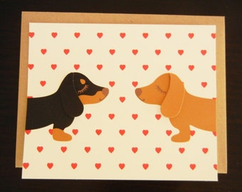 Teriyaki and BBQ the Dachshunds Doxies Heart Print Note Card with Envelope