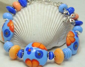 GERBERA DAISY Handmade Lampwork Bead Bracelet