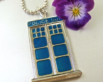 Police Box necklace ball chain 24 inches blue and silver enamel whovian like Dr Who