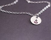 Navy Wife Gift, Small Anchor Charm Necklace, Nautical Jewelry, Delta Gamma Necklace,  Small Charm Necklace